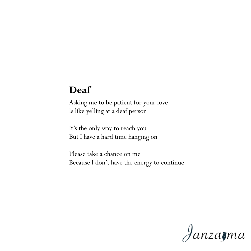 Janzajma poetry deaf