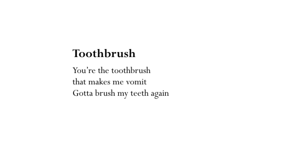 Toothbrush poem